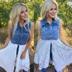 Honeyme- Sleeveless denim/lace contrast flowy layered dress