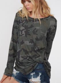 Green Long Sleeve Camouflage Twisted Hem Sweater