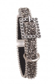 Rhinestone Mesh Leather Dog Collar