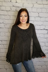 T Party - Lace neck long sleeve top