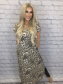 Honeyme-Short sleeve v-neck animal print long dress