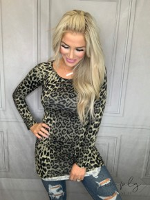 PSY Apparel- Long sleeve leopard print dress with gathered sides