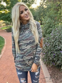 Vanilla bay- Long sleeve hoodie top with camo printed terry knit fabric