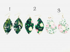 Leather leaf shaped earrings