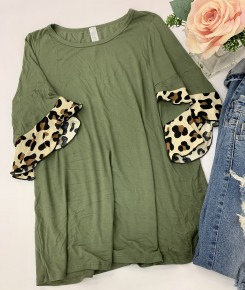 Honeyme- Short sleeve top with leopard print ruffles on sleeve