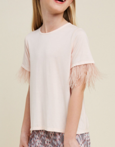 Kids feather sleeve top