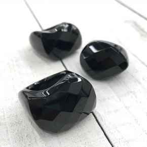 BIG SOLID BLACK ONYX GEMSTONE RINGS
