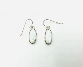 Large Oval Shaped Synthetic Opal Earrings