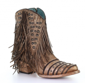 Camel fringe and studs ankle boots