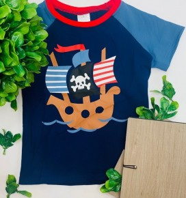 Navy blue top with corsair pattern for boys (kids)