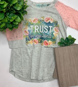 Southern Grace Apparel - Girls 'trust in the lord' on long sleeve with lace sleeves