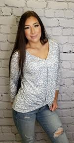 White Birch - Blue Long Sleeve Cheetah Print Knit top w/ V Neck