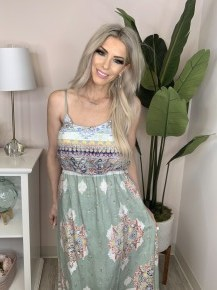 Vanilla Bay - Printed tank dress with spaghetti adjustable straps and loose fit bodice