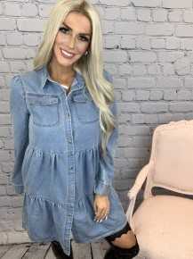 Heyson-Ruffle detail long sleeve denim shirt dress