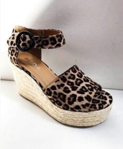 leopard print wedges with braided straw on side