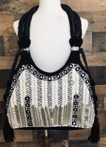Black/ivory leather woven fabric crystal embroidered tote