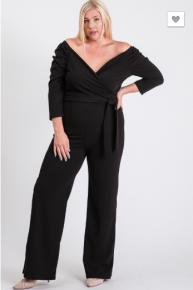 Janette Plus - Plus size solid off shoulder jumpsuit with belt