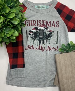Southern Grace Apparel - Girls christmas with my herd on long sleeve tee with buffalo plaid sleeves