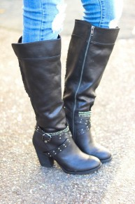 Not Rated - Boots with long zipper, front straps, and heel