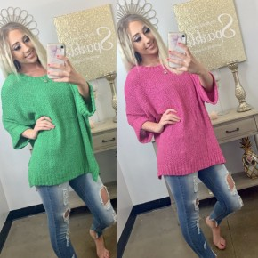 Solid knit over sized sweater top
