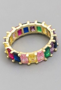 Rainbow Baguette Eternity Ring In Gold Or Silver Size 7