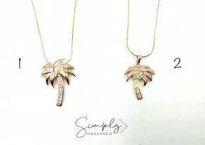 Rose Gold Palm Tree Necklaces with Iridescent Stones