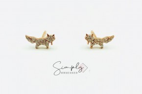 Rose Gold Dainty Sterling Silver Fox Earrings Studs With CZ Micropave