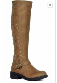 Tan leather boots w/ gold accents along the sides
