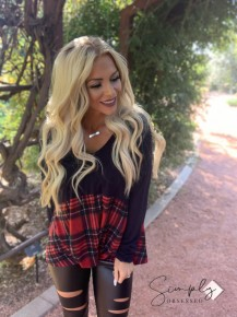 Honeyme - Long sleeve v neck top with plaid bottom, solid top, w/ front knot