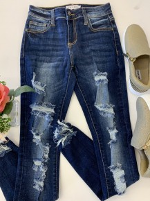 Cello- Mid rise distressed ankle skinny jeans