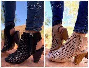 Qupid- Peep toe diamond cutout heeled booties