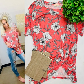 Plus classy floral print top with gathered side knot