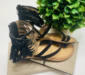Black strappy sandals with fringe tassel