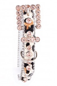 Rhinestone Studded Leather Fur Dog Collar