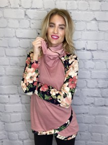 P.s Kate - French terry solid and floral print mix match zipper neck