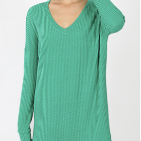 Kelly Green Waffle Knit Sweater *Final Sale*