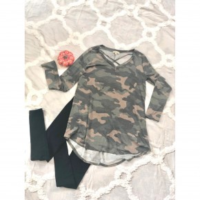 Camouflage Tee With V-neck Criss Cross *Final Sale*