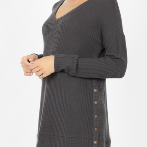 ASH GREY WAFFLE KNIT WITH SIDE SNAP BUTTONS *Final Sale*