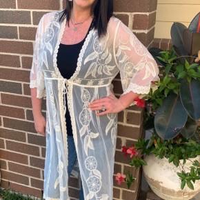 Beige Lace Kimono
