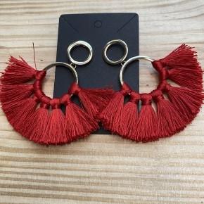 Red Fan Hoop Earrings