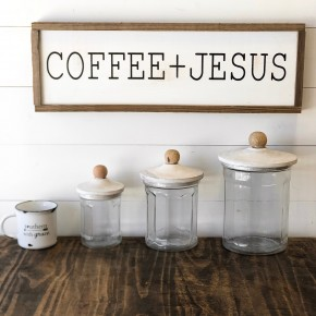 """Coffee + Jesus"" Framed Wood Sign"
