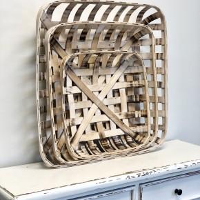 White Distressed Tobacco Basket