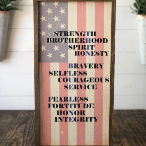 """The Thin Blue Line"" Framed Wood Sign"