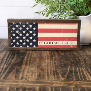 """In God We Trust"" Framed Wood Sign"