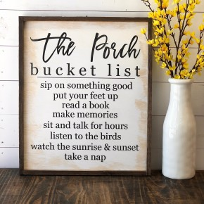 """The Porch"" Framed Wood Sign"