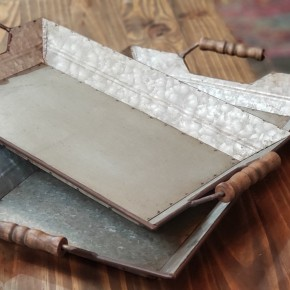 Galvanized Tray with handles