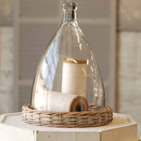 Bell Cloche with Wicker Base