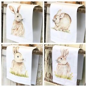 Hand-painted Bunny Tea Towel