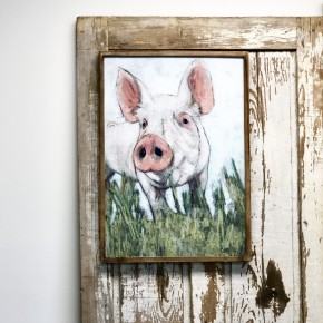Pig Wood Framed Artwork