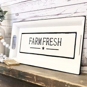 """Farm Fresh"" Enamel Tray"
